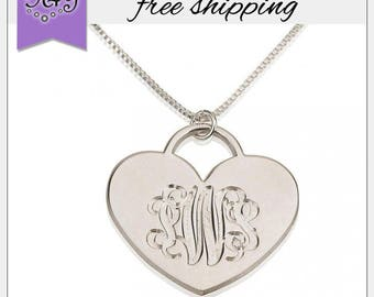 Sterling Silver Engraved Monogram Heart Pendant • Personalized Heart Monogram Necklace •Initial pendant •Initial jewelry •Personalized gifts