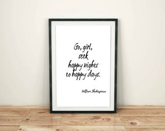 Shakespeare Quote Print, Romeo and Juliet Quote Printable, Happy Nights to Happy Days, Literature, Instant Digital Download, Typography