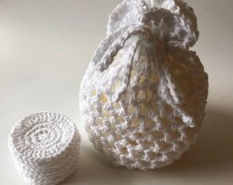 Crochet cotton makeup remover pads, face scrubbies, eco-friendly, cotton pads, reusable face pads, crochet laundry bag