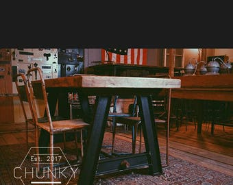 Vintage Decor, Cast iron industrial, Reclaimed Wood Dining Table, Country Home Decor, Rustic Wedding Table, Bespoke Furniture,Pine Table