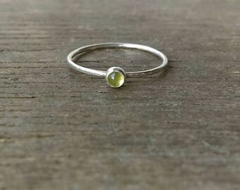 Tiny Stacker, Gemstone Stacker, Skinny Dainty Ring, Peridot Ring, Silver Stacking Ring, Sterling Silver, Tiny Stacking Ring, Silver Ring,