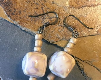 Soft Cream-Colored Simple Drop Earrings