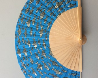 sardines hand painted wooden fan