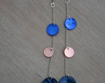 Long Silver earrings pink and blue