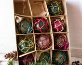 10 Antique Christmas Bulb Ornaments - Mercury Glass - Beaded - Victorian -