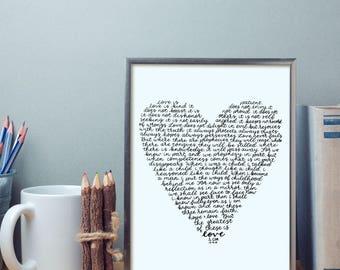 printable 1 corinthians 13 wall art printable home decor. Black Bedroom Furniture Sets. Home Design Ideas