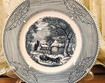 Monarch China Currier & Ives Winter Scene - Blue and White