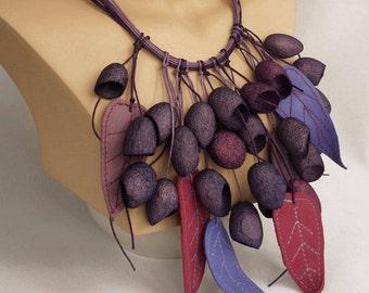 necklace silk cocoon, Purple necklace,Unusual Silk necklace,boho style,silk cocoons jewelry, Lilac Necklace