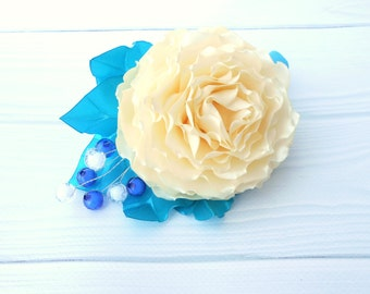 Champagne bridal hair piece Ivory rose hair clip Ivory blue hair clip Summer outdoor Beads head piece Elegant holiday head piece Unique hair
