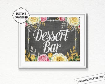 Dessert bar Sign, 11x14, 8x10, chalkboard, INSTANT download, Kitchen, Printable, Digital, kitchen wall art, vintage style, coffee bar, decor