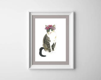 Cat, Watercolor Art, Digital Print Download, Botanical Art, Flowers