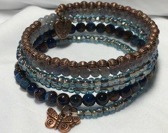 Butterfly Heart Blue Copper Wrap Bracelet