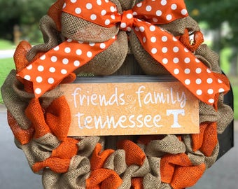 University of Tennessee Volunteers burlap football/basketball wreath