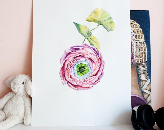 Ranunculus Art Flower Painting Original Watercolor Painting Flower Artwork Flower Watercolor Art Watercolor Flower