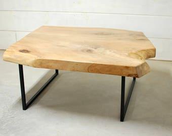Live Edge Coffee Table, Reclaimed Wood Coffee Table, Pecan, Wood Coffee Table, Rustic Home Decor, Live Edge Wood Table - FREE Shipping