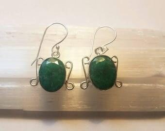 Raw Emerald Earrings Emerald Crystal Earrings Silver Plated Hook Earrings