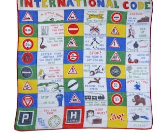 Hankie handkerchief traffic signs funny advices international code 50s Vintage
