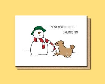 Personalised xmas card, Personalised Holiday card, Personalised Christmas card, Dog Christmas card, Snowman Card, Funny Christmas card