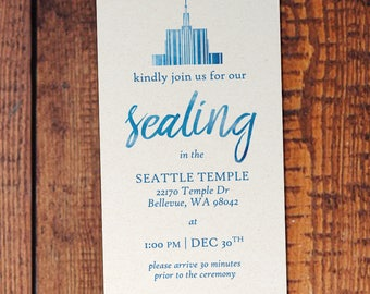 Watercolor Temple Sealing Invitation - Customizable Temple and Wording