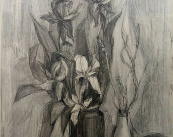Original Charcoal painting,Still life Painting, Original Home Decor, floral still-life,iris flowers,Floral wall art,black and white, gift