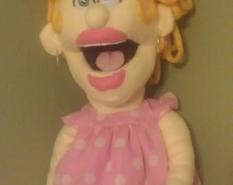 Professional size puppet, Midge Mason, with arm rod, jewelry, clothing