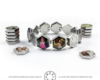 Custom Photo Bracelet - Silver - Interchangeable / Personalized