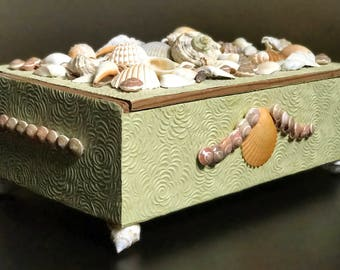 Decorative Old Paper Covered Box with Sea Shell Top and Feet for Jewelry or Keepsakes