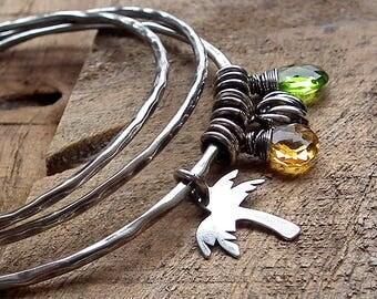 Sterling silver bangle bracelets set of 3- Bahama bracelets,colorful stones,quartz jewelry,charm bracelet,palm tree,oxidized hammered silver