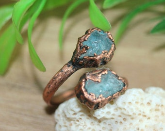 Raw aquamarine ring, boho rings, unigue rings, double rings, electroformed ring, raw jewelry, raw crystal, rough crystal, raw stone