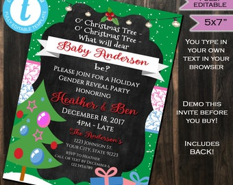 Christmas Gender Reveal Invitation Baby Shower Invite Holiday Party He She Tree Present Template Custom Printable INSTANT Self EDITABLE 5x7