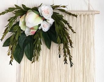 40% OFF SALE - Winter floral wall hanging - nursery decor - boho wedding - fiber art
