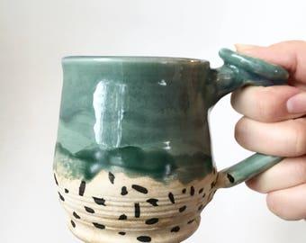 Vintage signed studio pottery mug - turquoise - spotted - drip glaze