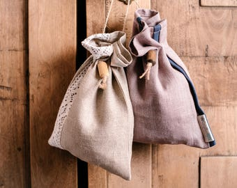 Linen drawstring bag for storage solutions as cookie bags, loose leaf tea bags, bread bag