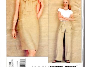 Vogue Attitudes 2150 Isaac Mizarahi Dress and Pants: (Tied Sweater Effect) 14-16-18 Uncut YR 1998