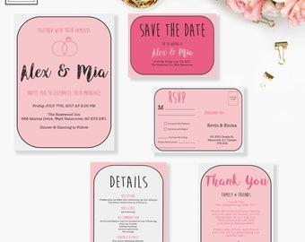 Wedding Invitation Suite, Wedding Invitation, Invitation Card, Details, RSVP, Save the Date, Invitation, Wedding, Printable Invitation, Card