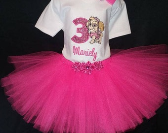 Personalized Embroidered Birthday Skye Paw Patrol Shirt and Tutu