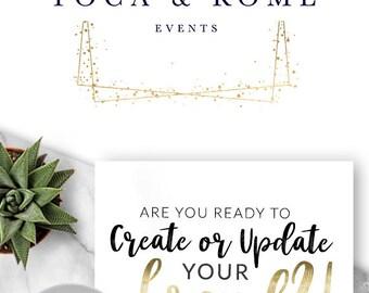 Logo, Premade Logo, Logo Design, Gold Logo, Blog Logo, Premade Logo Design, Modern Logo, Wedding Planner Logo, Party Planner Logo, - 173
