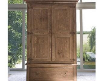 Rustic Chunky Wood Double Wardrobe