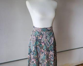 Vintage 1970s Paisley Printed Wrap Skirt