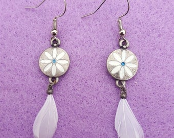 White Flower and Feather Earrings