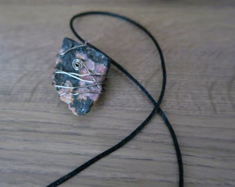 Raw Rhodonite Wire Wrapped Pendant