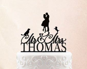 Customized Wedding Cake Topper, Personalized Cake Topper for Wedding with dogs Personalized Wedding Cake Topper, Mr and Mrs Cake Topper 20