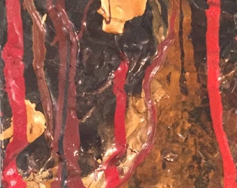 "Small Vintage 3-D Abstract Painting / Original Art Signed ""Conrich"" / J Lloyd Conrich Abstract Art / San Francisco California Artist"