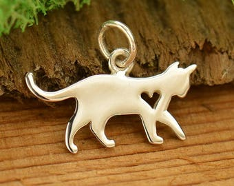 Sterling Silver Cat Charm - Kitty Charm - Kitten Charm - Cat Lover Charm - Make your own charm necklace