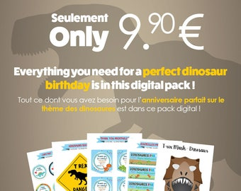 Dinosaur birthday party: print, cut out and enjoy! Personalized kit with age and first name of your child