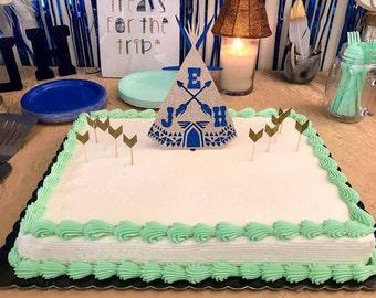 tribal, tribal cake topper, cake topper, teepee cake topper, cupcake, baby shower, gender reveal, boy cake topper, boho cake topper,