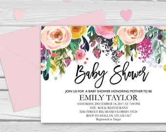 Floral Baby Shower, Floral Baby Shower Invitation, It's a Girl Shower Invite, Bridal Shower Card, Boho Girl Baby Invite, Instant Download 14