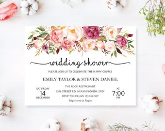 Wedding Shower Invitation, Fall Floral Bridal Shower Card, Couples Shower Invite, Editable Card Instant Download, Wedding Shower PDF #02