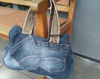 Cool and unique handbag from recycled jeans.
