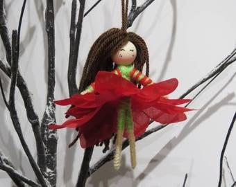 Elf Fairy waldorf Doll, Princess Fairy Ornament, Flower Fairy Doll, Gift for Girls, miniature doll, Fairy Girl Figurine, flower fairy